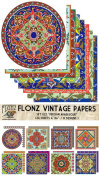 Paper Pack (24sh 15cm x 15cm ) Persian Arabesque FLONZ Vintage Paper for Scrapbooking and Craft