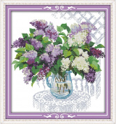 Benway Counted Cross Stitch Lilacs In Vase 14 Count 52x55 CM