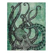 Custom Beautiful Modern Art Abstract Painting Octopus Canvas Print 41cm x 50cm Inch, Stretched and Framed Artwork Decor Wall Living room Office Art Abstract Octopus Oil Paintings Picture Canvas Print Home Decor
