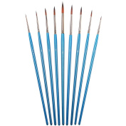 Art Brush for Watercolour, Acrylic, Oil, Ink & Face Painting. Set-9 Piece Detail Paint Brushes No Shedding Short Handle