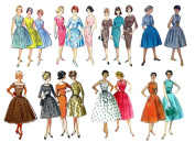 Vintage Fashion Fifties (18cm x 25cm ) Clear Stamps Large Sheet / 50s Fashion Girls