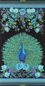 Plume by Chong-a-Hwang for Timeless Treasures Quilt Fabric 60cm x 110cm Peacock Panel