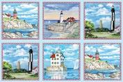 Elizabeth's Studio Lighthouses 60cm x 110cm Quilt Fabric Panel
