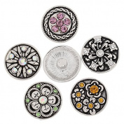 5pcs Rhinestone Snaps Chunk Buttons Colourful Flower for Charms Bracelet