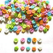 100 Pcs Tiny Button, Micro Button 2hole Size 6 Mm Mix Assorted Pastel Colour