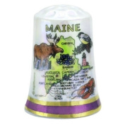 Maine State Map Pearl Souvenir Collectible Thimble agc