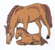 Felt Horse Mare and Colt Iron on Embroidered Patch