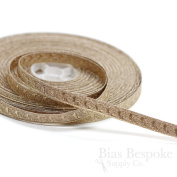 Narrow Rose Gold Bullion Braid Trim with Abstract Pattern