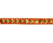 Sequin Embroidered Trim By Shine Trim - Orange/gold