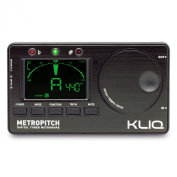 KLIQ MetroPitch - Metronome Tuner - with Guitar, Bass, Violin, Ukulele, and Chromatic Modes - Tap Tempo - Tone Generator - Best for All Acoustic & Electric Instruments - Carrying Pouch Included, Black
