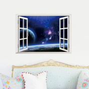 Fange Space Porthole 3D Window View Removable Art Mural Vinyl Wall Stickers Decor Decal Sticker Wallpaper