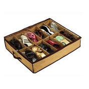 HuntGold 12 Pairs Shoes Storage Organiser Under Bed shoes Closet Storage Fabric Bag Box