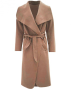 Miss Ta-Daa Women Long Waterfall Draped Coat Belt Long Sleeve Jacket Cape Cardigan