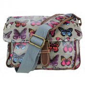 Miss Lulu - Small Oilcloth Satchel Bag - Butterfly Print