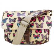 Miss Lulu - Small Oilcloth Satchel Bag - Butterfly Print