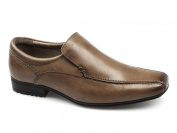 Front BELMONT Boys Leather Tramline Loafers Tan