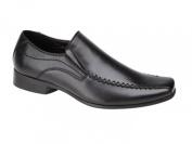 US Brass Boys Faux Leather Slip On Smart Formal School Shoes Black