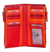 VISCONTI SOFT LEATHER 3-TONE LADIES PURSE WALLET 17 CARD SLOT, RB-100 NEW IN !!