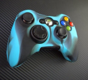 Two Pieces Set 2x Brand New High Quality Xbox 360 Remote Controller Silicon Protective Skin Case Cover -Blue Black Mix Colour
