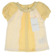 Gaialuna-Baby Girl Pleated Dress Tunic Hängerchen NEO with Rhinestones in White and Yellow