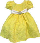 Yellow Children's Cotton Floral Dress With Diamonty Brooch and With Head Band