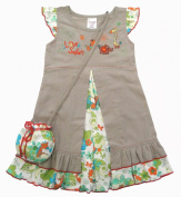 HooligansKids 6/12m Baby Girls Dress With Matching Bag Safari Flower Burst - Certified Fair Trade