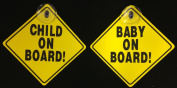 Baby & Child On Board Car Sign Set