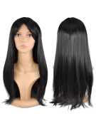 Womens Ladies Long Straight Fancy Dress Full Hair Clip Wig Costume Cosplay Party Black -