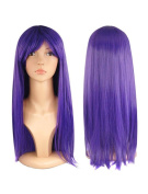 Womens Ladies Long Straight Fancy Dress Full Hair Clip Wig Costume Cosplay Party Lilac -