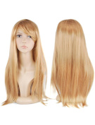 Womens Ladies Long Straight Fancy Dress Full Hair Clip Wig Costume Cosplay Party Gold -