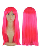 Womens Ladies Long Straight Fancy Dress Full Hair Clip Wig Costume Cosplay Party Light Pink -