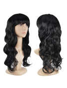 Womens Ladies Long Curly Wavy Fancy Dress Full Hair Clip Wig Costume Party Black