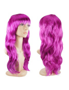 Womens Ladies Long Curly Wavy Fancy Dress Full Hair Clip Wig Costume Party Purple