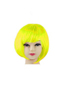 Womens Ladies Short Bob Fancy Dress Full Hair Clip Wig Costume Cosplay Party Yellow