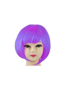 Womens Ladies Short Bob Fancy Dress Full Hair Clip Wig Costume Cosplay Party Lilac