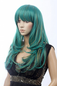 Prettyland C707 - long Wave wig in green and blond tresses with pony