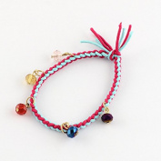 Hair Tie Bracelet Hair Band Beaded Bracelet Braided Bracelet Crystal Bracelet Rhinestone Bracelet Hair Jewellery Hair Jewellery Hair Accessory Blue Hairband Hairtie Girls Bracelet Girls Hair band
