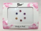 Multicoloured Flower Shaped Gem Stone Bindi's - Medium - 6pc - ideal for any occasion - Shimmer Look