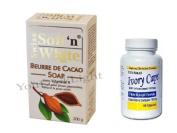 Ivory Caps Skin Whitening/ Lightening Pills 1500mg +SOFT N WHITE COCOA BUTTER SOAP WITH VITAMIN E 200G