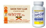 Ivory Caps Skin Whitening/ Lightening Pills 1500mg +X-WHITE CARROT FACE AND BODY SOAP 200G