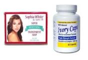Ivory Caps Skin Whitening/ Lightening Pills 1500mg +SOPHIA WHITE WHITENING SOAP 150G