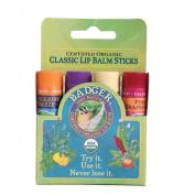Badger Balm | Lip Balm Sticks - Green Pack | 4 x Sticks