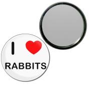 I Love Rabbits - 77mm Round Compact Mirror