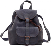 PAUL MARIUS Vintage leather backpack LE BAROUDEUR rucksack vintage style petrol blue