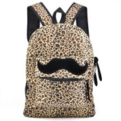 Tinxs® Hot Fashion Leopard Bag Moustache Canvas Backpack Women Girl Student Campus Satchel School Travel Bag Rucksack