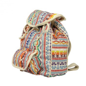 Natural Green Fashionable Silver Inca Urban Look Rucksack Natural Cellulose, approximately 37 x 27 x 10 CM, with front pocket, and wooden hooks