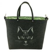 Ladies Large Felt Shoulder Handbag Bag-Graphite Animal Cat Design
