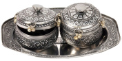 Little India Oxidise Mouth Freshener Box And Metal Tray 20.32 Cm X 12.7 Cm X 7.62 Cm Silver