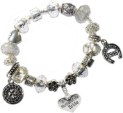 Mother of the Bride Good Luck Lucky Iced Silver Pandora Style Bracelet Charms Gift Box Womens Wedding Jewellery