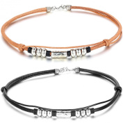 JewelryWe 2pcs Unisex Handcrafted Bead Beads Leather Collar Necklace Choker Punk Rock, Brown Black